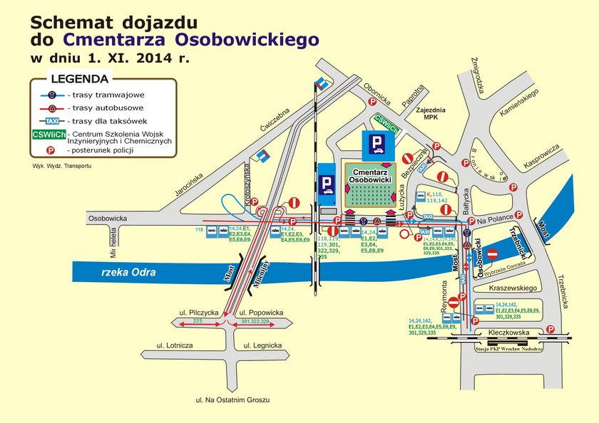 Schemat przystanków w okolicach cmentarza Osobowickiego