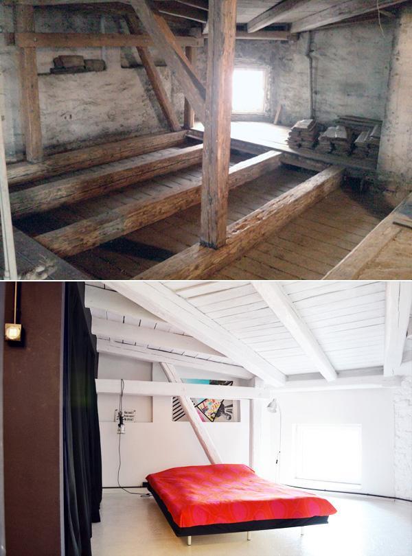 Sypialnia przed i po remoncie.