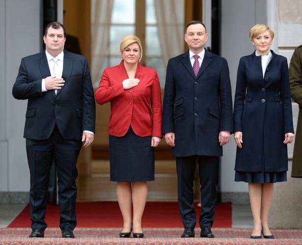 Chorwacja para prezydencka spotkała się z Andrzejem Dudą i jego małżonką w Pałacu Prezydenckim