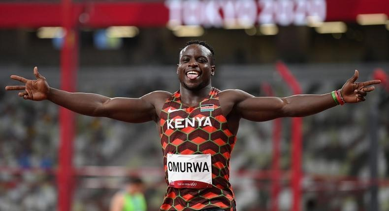TOKYO, JAPAN - JULY 31: Ferdinand Omurwa of Team Kenya reacts after competing in the Men's 100m Round 1 heats on day eight of the Tokyo 2020 Olympic Games at Olympic Stadium on July 31, 2021 in Tokyo, Japan. (Photo by Matthias Hangst/Getty Images)