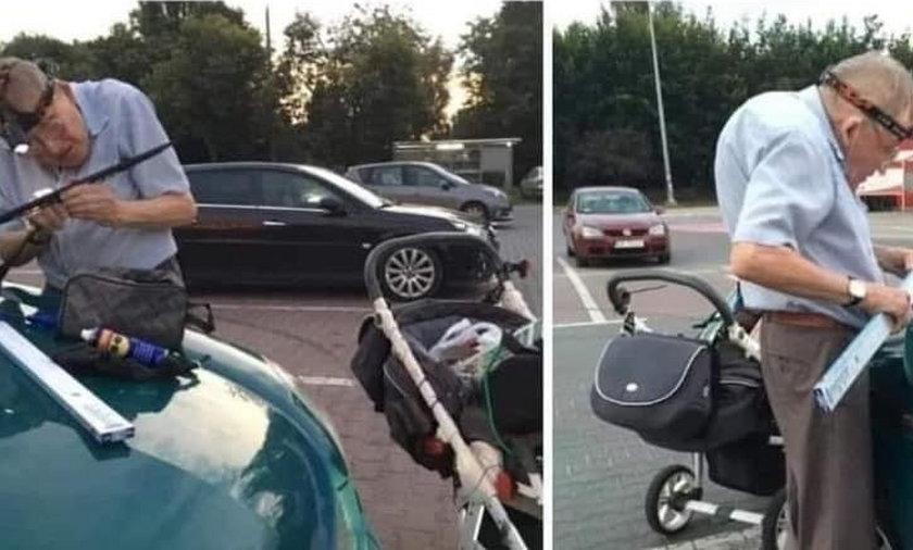 Pan Andrzej od 20 lat wymienia wycieraczki na parkingu przed supermarketem.