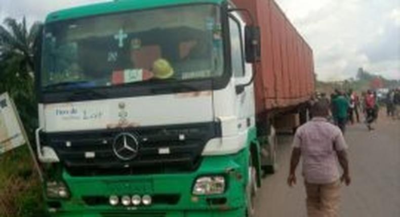 Scene of the accident in Okija, Anambra