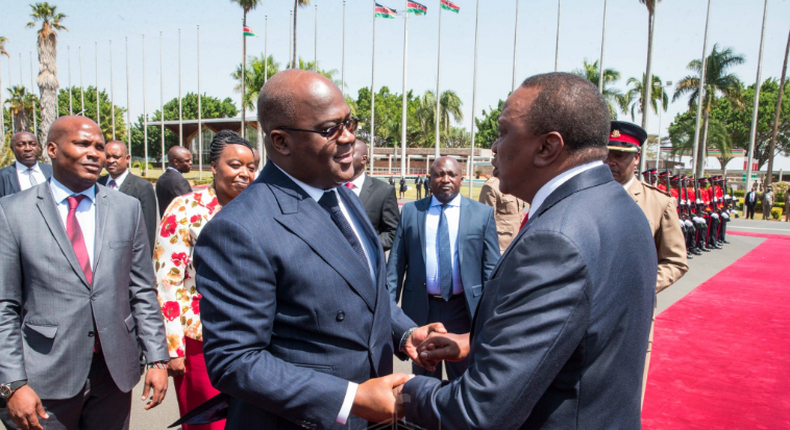 newly-elected Democratic Republic of Congo (DRC) President Felix Tshisekedi, who is in Kenya for a two-day official visit with his Kenyan counterpart Uhuru Kenyatta.