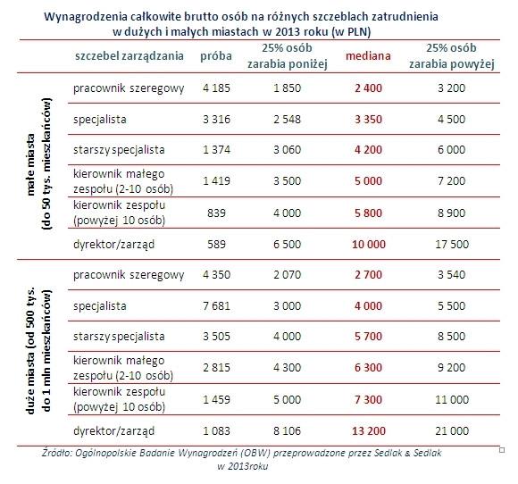 Wynagrodzenia całkowite brutto osób na różnych szczeblach zatrudnienia w dużych i małych miastach w 2013 roku (w PLN)