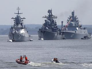 FILE PHOTO: Russian navy ships are anchored in bay of Russian fleet base in Baltiysk in Kaliningrad