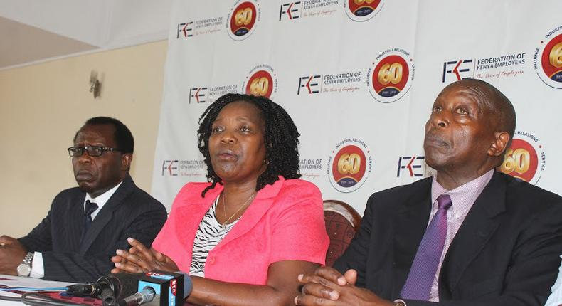 FKE CEO Jacqueline Mugo (C) with other officials during a past presser