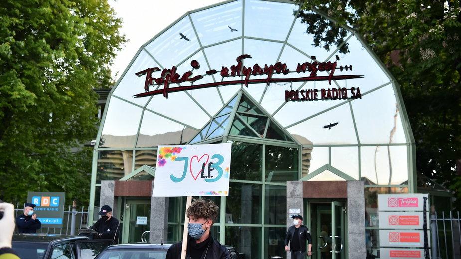 """""""Stop cenzurze!"""" Protest w obronie Trojki (22.05.2020)"""