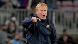 Ronald Koeman watched on as Barcelona were beaten at home to Granada on Monday. Creator: LLUIS GENE