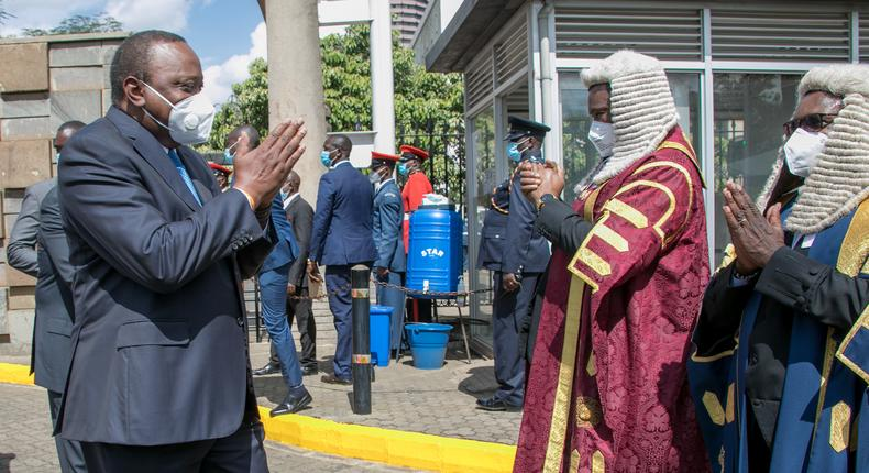 President Uhuru received by Speakers Justin Muturi and Ken Lusaka during the 2020 State of the Nation address