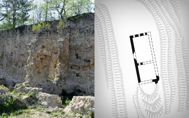 Plan zamku w Rożnowie, B.Guerquin