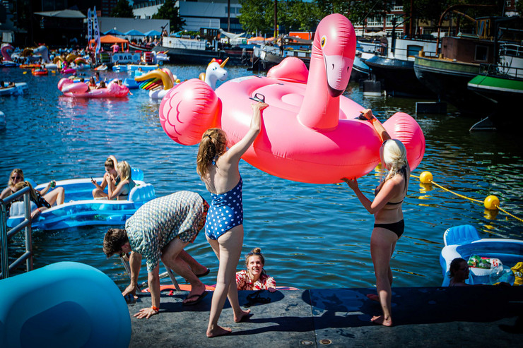 Ružičasti flamingo na naduvavanje