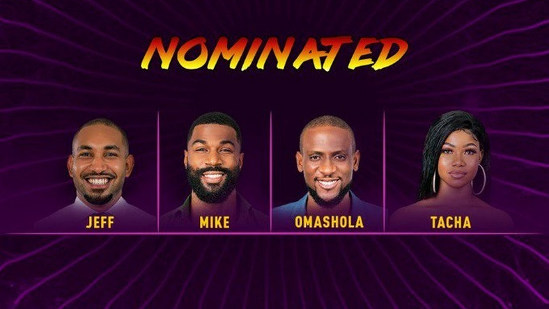 Jeff, Mike, Omashola and Tacha have been nominated for eviction on August 4. [Twitter/BigBroNaija]