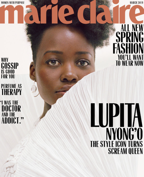 Lupita looks stunning in all white as she covers the March 2019 issues of women's lifestyle magazine, Marie Claire