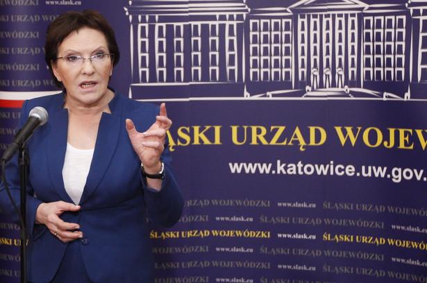 Ewa Kopacz podczas konferencji prasowej w Śląskim Urzędzie Wojewódzkim w Katowicach