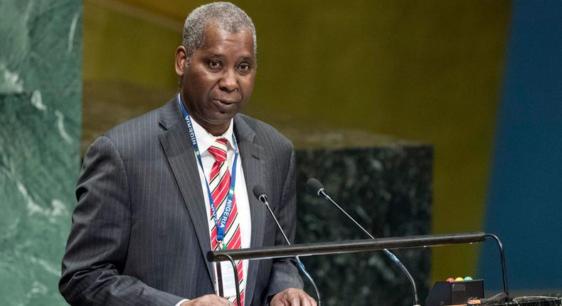 Ambassador Tijjani Mohammad Bande, newly-elected President of the 74th session of the United Nations General Assembly. (December 2018) - UN Photo/Rick Bajornas