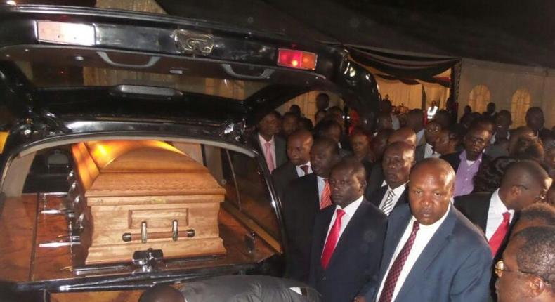 The casket bearing the late Ndreritu Gachagua is received by various leaders at JKIA, March 2, 2017.