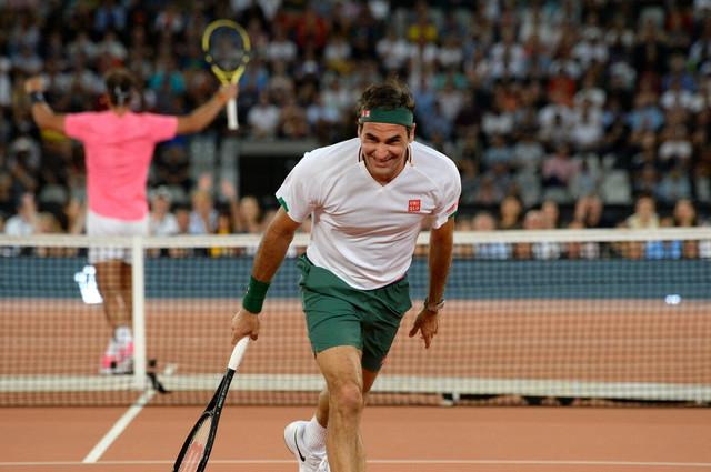 Rodžer Federer na egzibiciji sa Rafaelom Nadalom