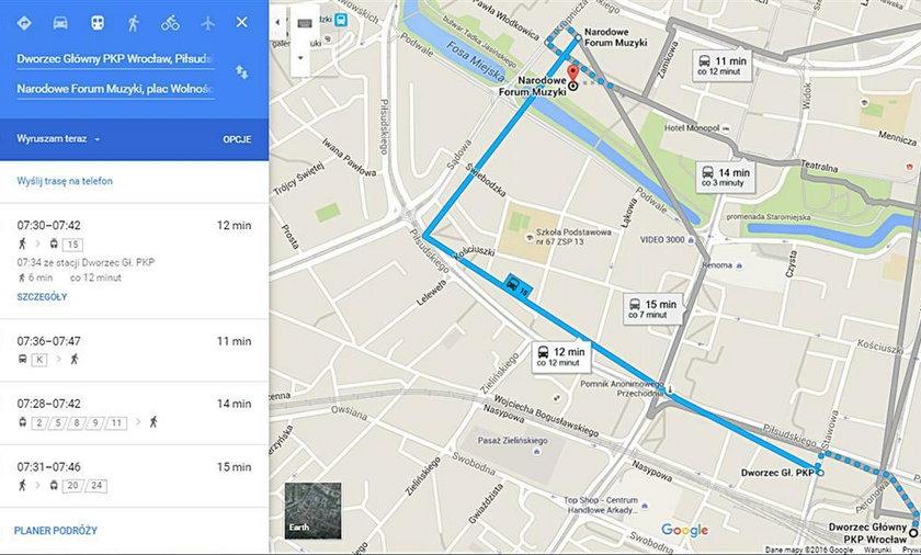 Dzięki mapom Google pojedziemy MPK