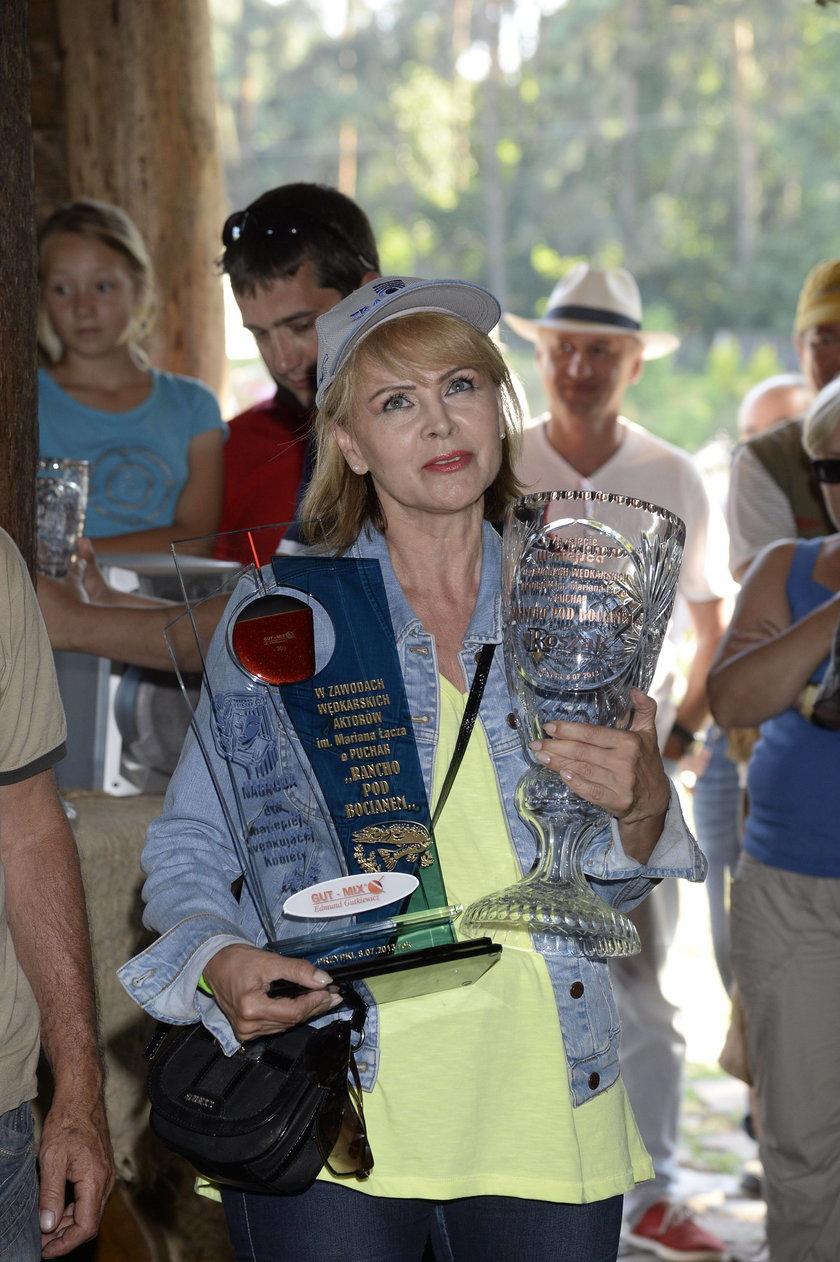 Izabela Trojanowska na zawodach w łowieniu ryb