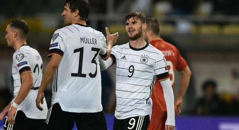 Timo Werner (R) scored twice as Germany qualified for the 2022 World Cup Creator: Nikolay DOYCHINOV