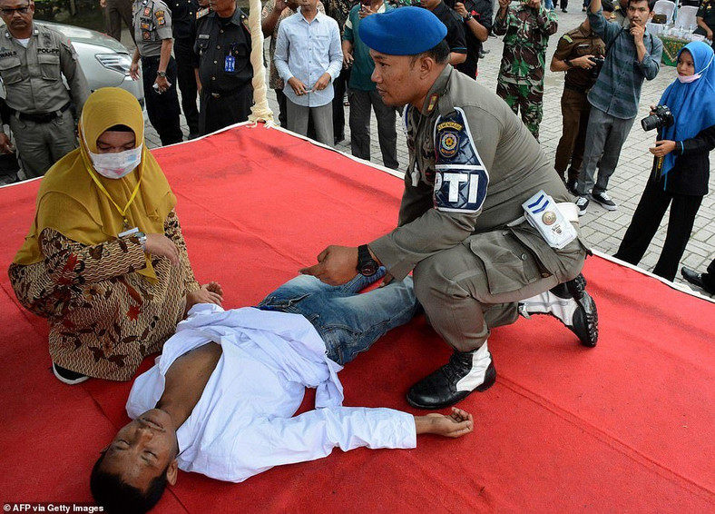 Man who fainted during 100 lashes for premarital sex was revived to take the rest before being rushed to the hospital