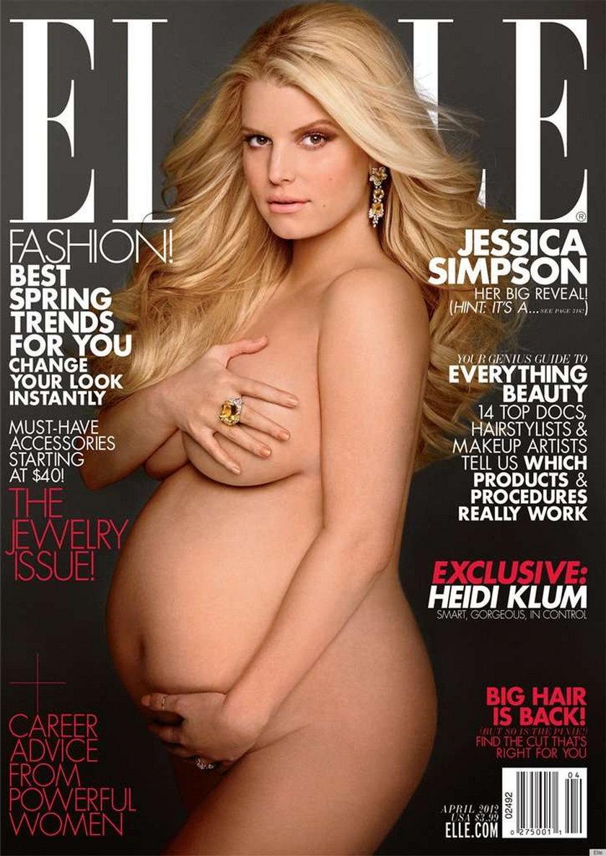 Jessica Simpson w ciąży Elle okładka