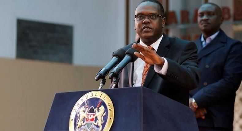 Former Sports CS Hassan Wario addresses a news conference on the World Anti-Doping Agency (WADA) in the capital Nairobi, May 13, 2016.