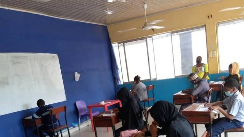 Students writing entrance examination into JSS I and-SS I at Future Leaders International School, Unguwan-Rimi Kaduna. [NAN]