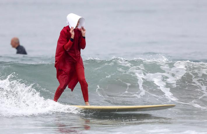 Halloween costume surfers in California