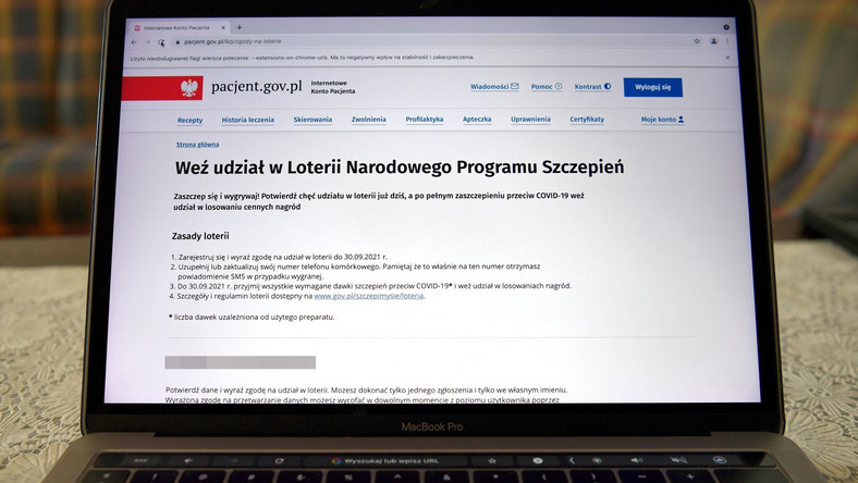 Strona internetowego konta pacjenta, 1 bm. Poprzez konto można wziąć udział w rozpoczętej dzisiaj Loterii Narodowego Programu Szczepień.