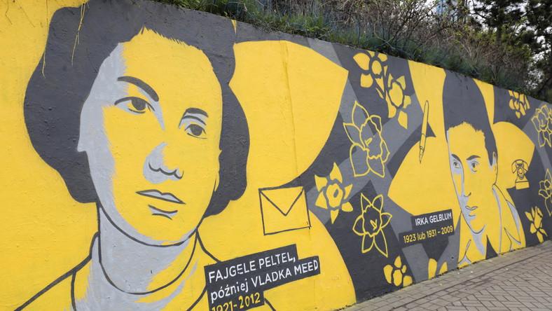 Mural z wizerunkiem dziewięciu żydowskich kobiet przy stacji metra Centrum