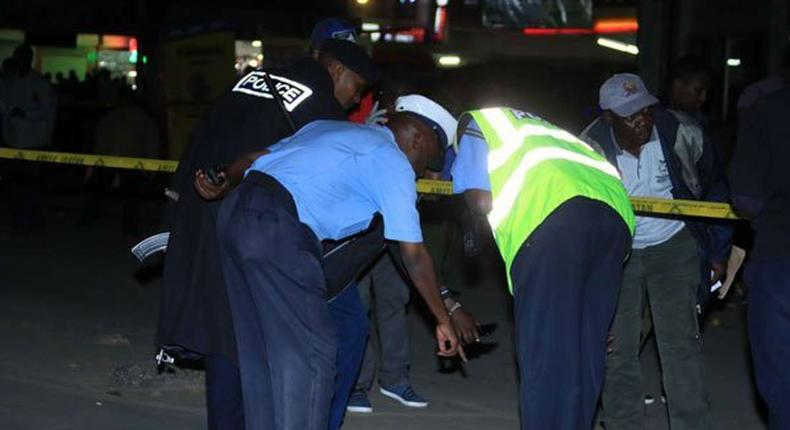 The scene of the explosion  at Odeon Stage, Latema Tom Mboya junction.