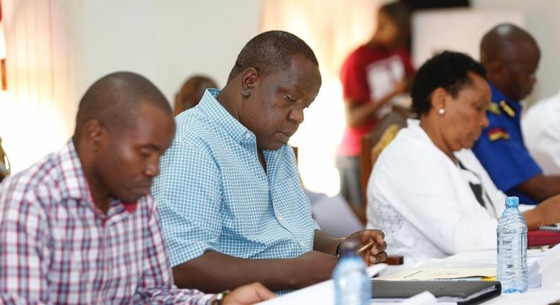 Interior CS Fred Matiang'i during a security meeting at the Flamingo Pride Inn in Mombasa County (Twitter)