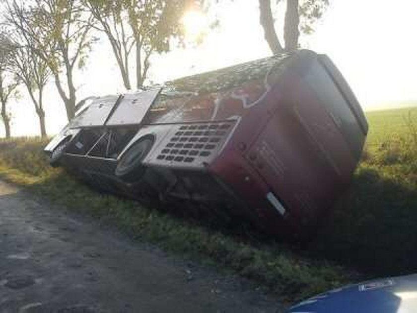 Ciężarówka zepchnęła autobus do rowu! Uciekła!