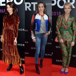Weronika Rosati, Katarzyna Zielińska i Weronika Książkiewicz w kolorowych stylizacjach