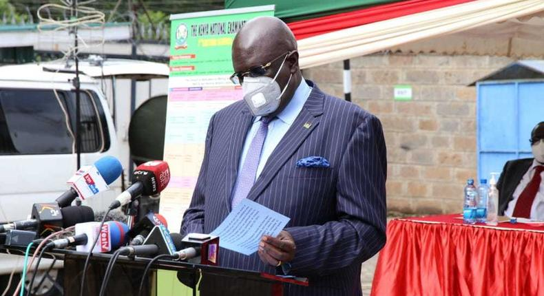 Education CS George Magoha when he announced results for the 2020 KCSE examination