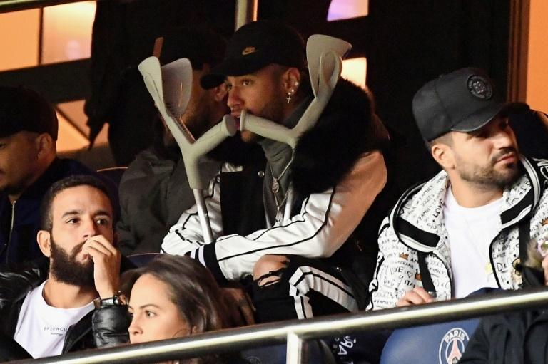 The injured Neymar watched PSG's stunning defeat to United from the stand at the Parc des Princes