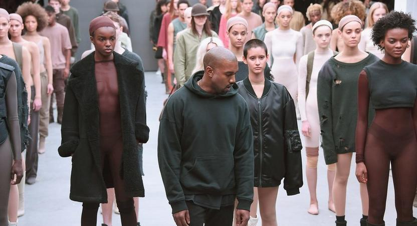 Kanye West and models at New York Fashion Week