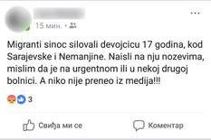 """LAŽNIM OBJAVAMA ŠIRE PANIKU NA FEJSBUKU Pisali da su """"migranti silovali devojku u Beogradu"""", MUP demantuje"""