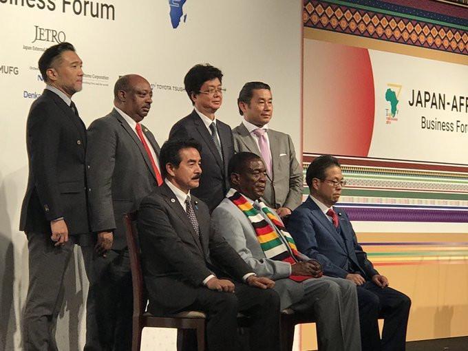 Zimbabwe president, Emmerson Mnangagwa, participates at the Japan-Africa business forum (Twitter/UNIDO)