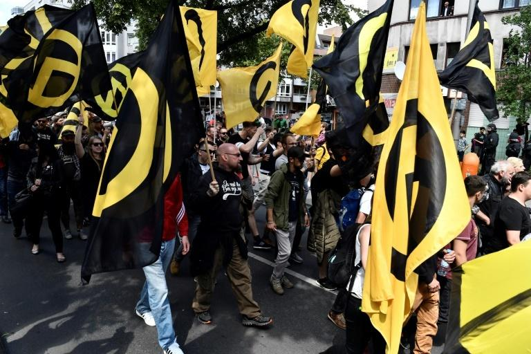 "A 2017 march in Berlin by the right-wing ""Identitarian"" movement which supports white nationalist ideals"