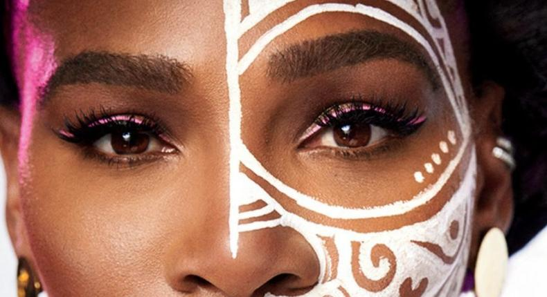Serena Williams rocks Laolu's unique face paint on the cover of Essence's Global Fashion Issue (essence)