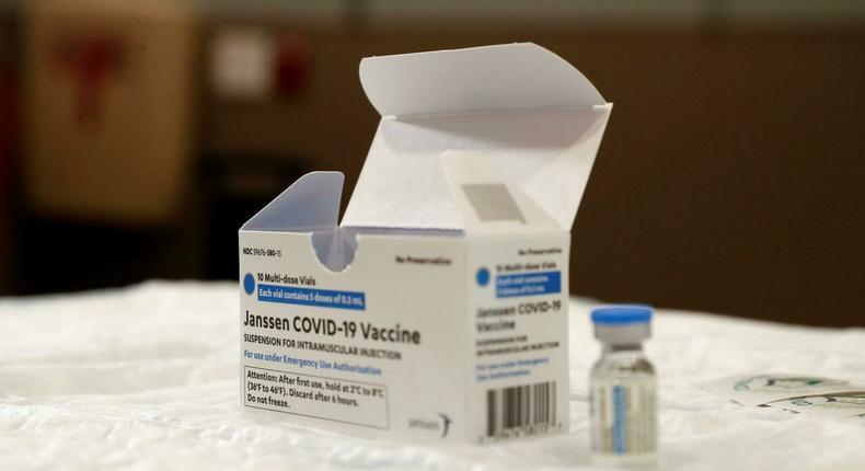 A box of Johnson & Johnson Covid-19 vaccine vials