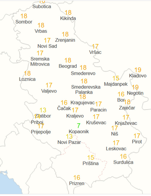 Vreme u Srbiji u petak