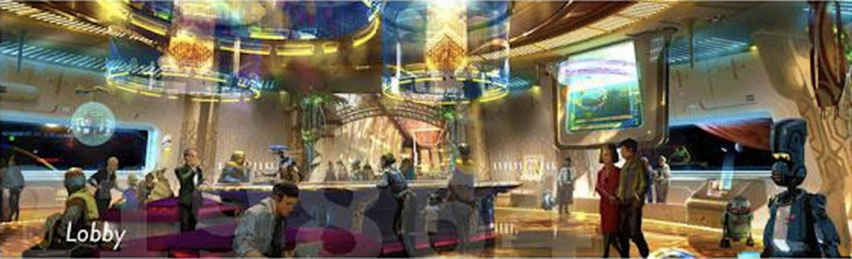 Wizualizacja lobby w hotelu na terenie Star Wars Land