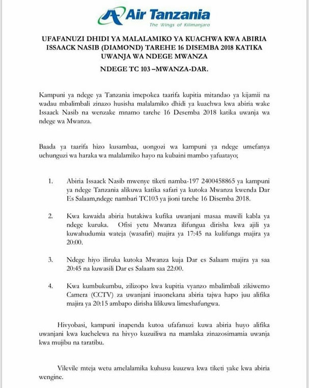 Air Tanzania statement of Diamond standoff (Instagram)