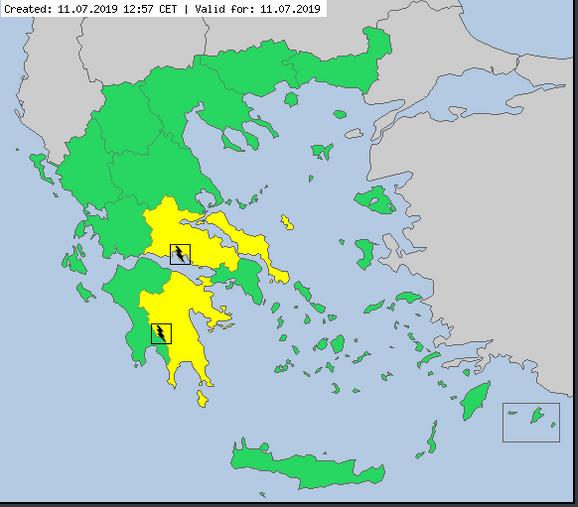 Žuto meteoalarm za istočne delove Grčke: Potencijalno opasno vreme