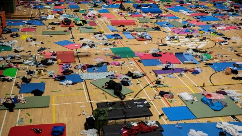 Protesters have been sleeping in a gymnasium at the beseiged PolyU campus in Hong Kong