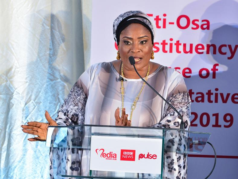 Tessy Owolabi of the Social Democratic Party (SDP) at a debate for candidates contesting for the Eti-Osa constituency seat in the House of Representatives
