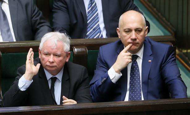 Prezes PiS Jarosław Kaczyński i wicemarszałek Sejmu, poseł PiS Joachim Brudziński , PAP/Paweł Supernak